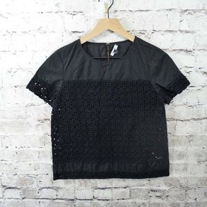 Madewell Black Cotton Eyelet Short Sleeve Top